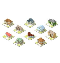 isometric image a private house set vector image