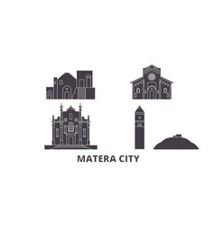 Italy matera city flat travel skyline set italy vector