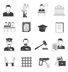 Justice black icons set vector