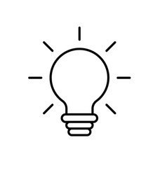 Line nice bulb idea to create and invent vector