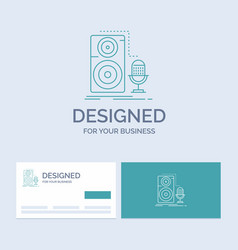 live mic microphone record sound business logo vector image