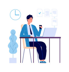 Manager at work multitask businessman planning vector
