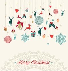 Merry Christmas vintage greeting card vector