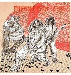 Metal music group An hand drawn picture Line art vector