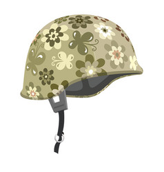 military helmet with floral pattern vector image