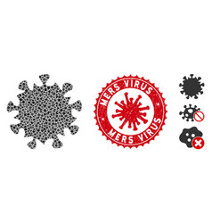 Mosaic mers virus icon tuberous items vector