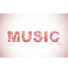 Music lettering theme made from black notes vector
