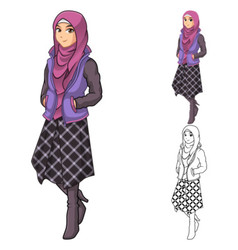 Muslim Woman Fashion Wearing Purple Veil or Scarf vector