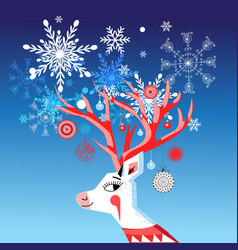 new year card with a merry portrait a deer vector image