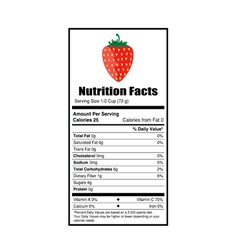 Nutrition facts strewberry vector