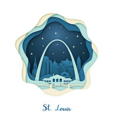 Paper art of st louis origami concept night vector