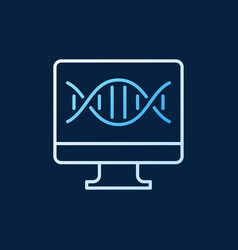 pc with dna colored line icon on dark vector image