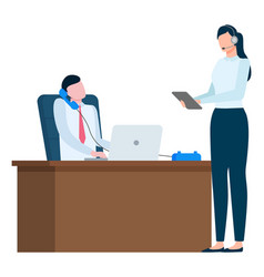 people in office man talk on phone about business vector image