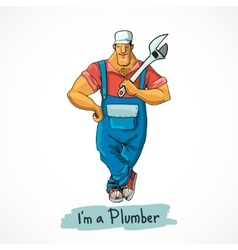 Plumber with monkey wrench vector image