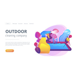 Pool and outdoor cleaning concept landing page vector