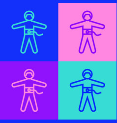 Pop art line bungee jumping icon isolated on color vector