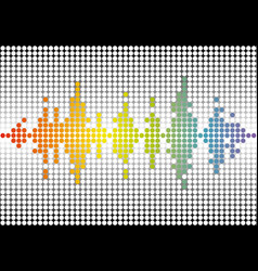 Rainbow music wave brand color dots banner vector