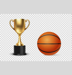 realistic 3d golden champion cup icon with vector image