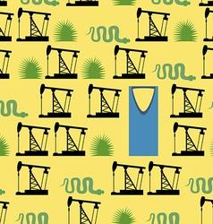 Saudi Arabia seamless pattern Desert and oil pumps vector image