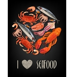 Seafood on black background vector