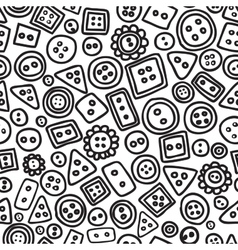 Seamless hand drawn doodle pattern with buttons vector