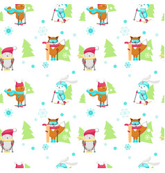 Seamless pattern with cute skiing animals vector