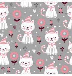 seamless pattern with cute squinted kittens vector image
