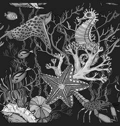 Seamless pattern with ocean night with marine life vector
