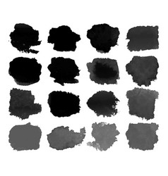 set of black watercolor stain vector image