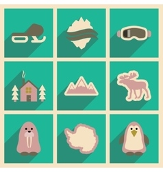 Set of flat web icons with long shadow Arctic vector