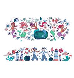 Set of little cartoon mermaids and sailors vector