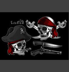 Set of pirates elements vector