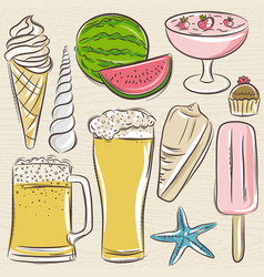Set of summer symbols shells beer ice cream vector