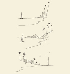 set sketches seaside view beach sketch vector image
