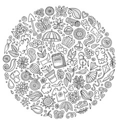 Set spring cartoon doodle objects vector