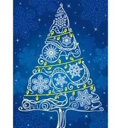 silhouette of Christmas tree vector image