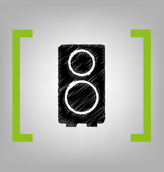 speaker sign black scribble vector image