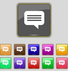 Speech bubble Chat think icon sign Set with eleven vector