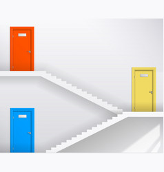 Stairs and colored doors vector