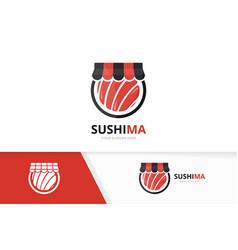 sushi and shop logo combination japanese vector image
