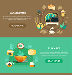 tea ceremony horizontal banners vector image