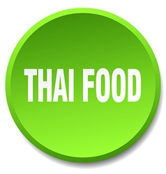 Thai food green round flat isolated push button vector