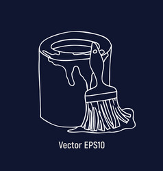 the paint for the repair with a brush vector image