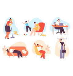 Tired people exhausted men and women with anxiety vector