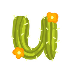 U letter in the form of cactus with orange vector