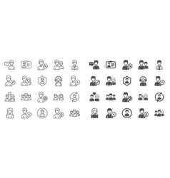 Users line icons male and female profiles vector