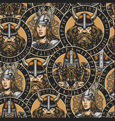 Viking colorful seamless pattern vector