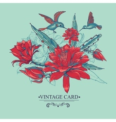 Vintage Card with Red Flowers and Hummingbirds vector image