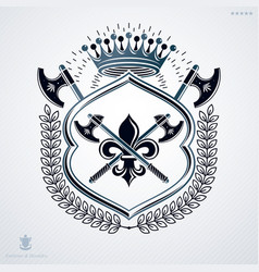 vintage heraldic coat of arms created in award vector image