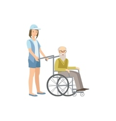 Volunteer Rolling Old Man In Wheelchair vector image